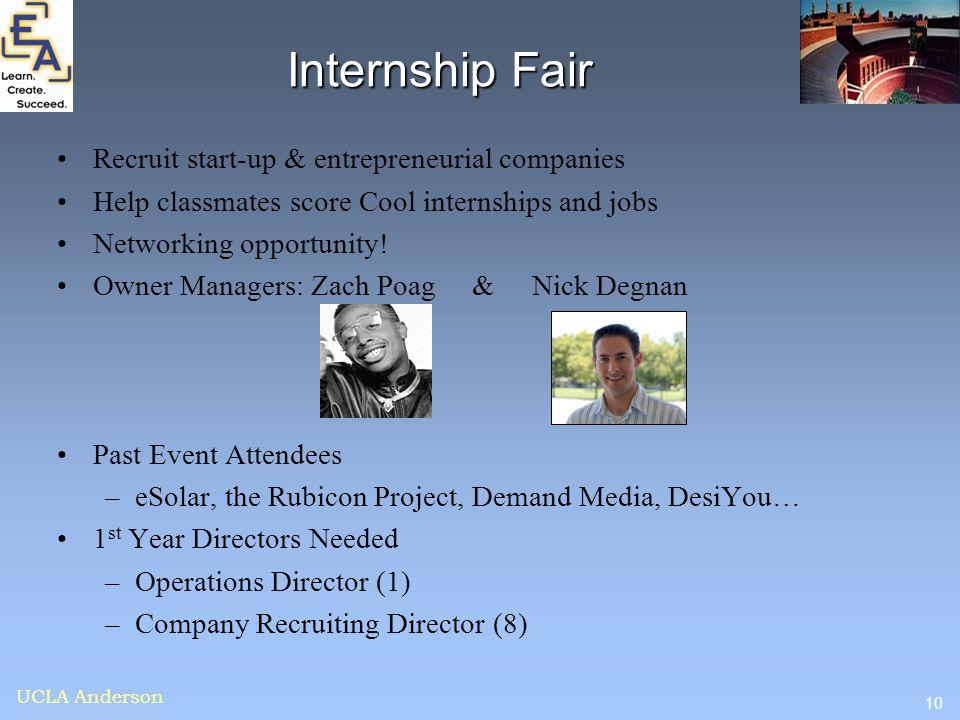 10 UCLA Anderson Internship Fair Recruit start-up & entrepreneurial companies Help classmates score Cool internships and jobs Networking opportunity!