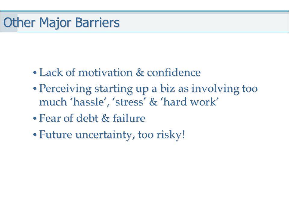 Other Major Barriers Lack of motivation & confidence Lack of motivation & confidence Perceiving starting up a biz as involving too much 'hassle', 'str