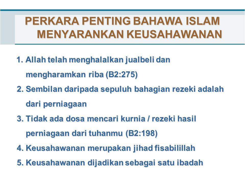 PERKARA PENTING BAHAWA ISLAM MENYARANKAN KEUSAHAWANAN 1. Allah telah menghalalkan jualbeli dan 1. Allah telah menghalalkan jualbeli dan mengharamkan r