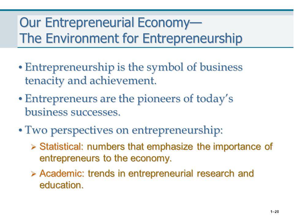 1–28 Our Entrepreneurial Economy— The Environment for Entrepreneurship Entrepreneurship is the symbol of business tenacity and achievement. Entreprene