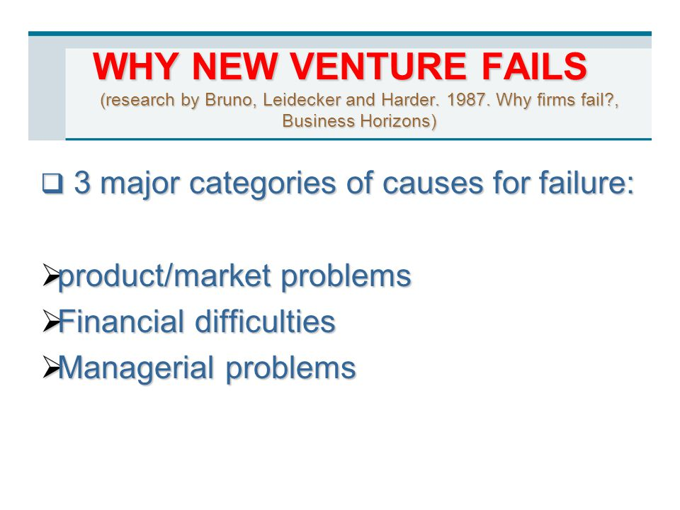 WHY NEW VENTURE FAILS (research by Bruno, Leidecker and Harder. 1987. Why firms fail?, Business Horizons)  3 major categories of causes for failure: