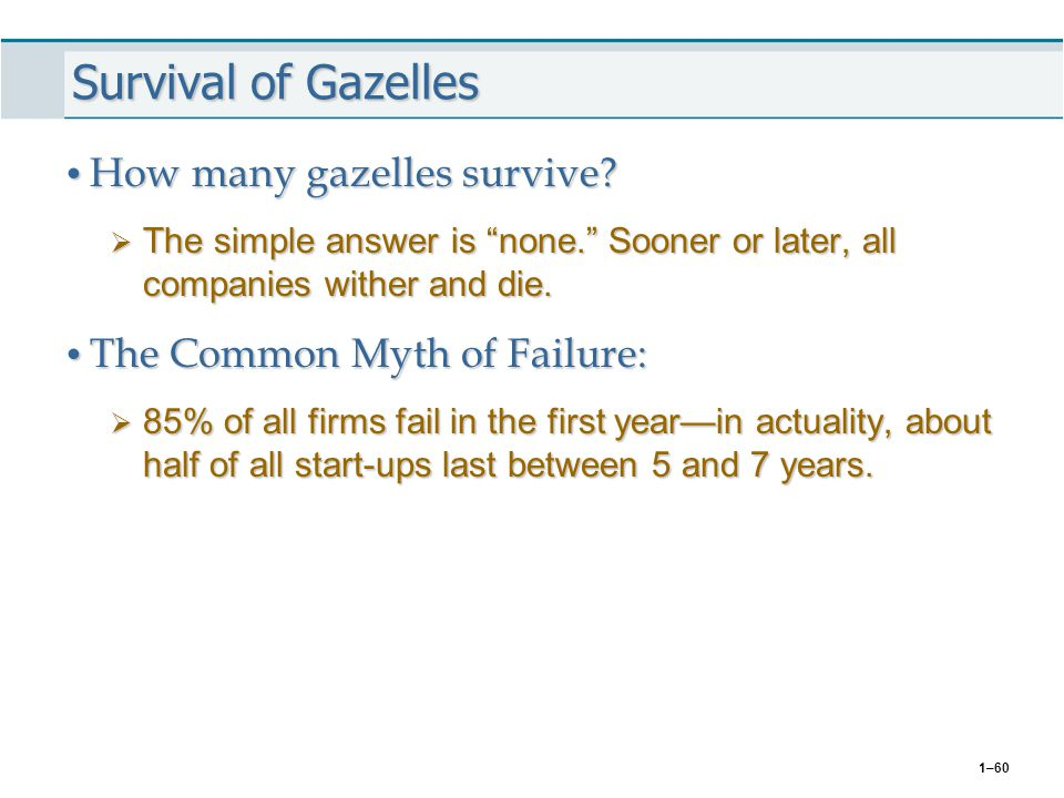 """1–60 Survival of Gazelles How many gazelles survive? How many gazelles survive?  The simple answer is """"none."""" Sooner or later, all companies wither a"""
