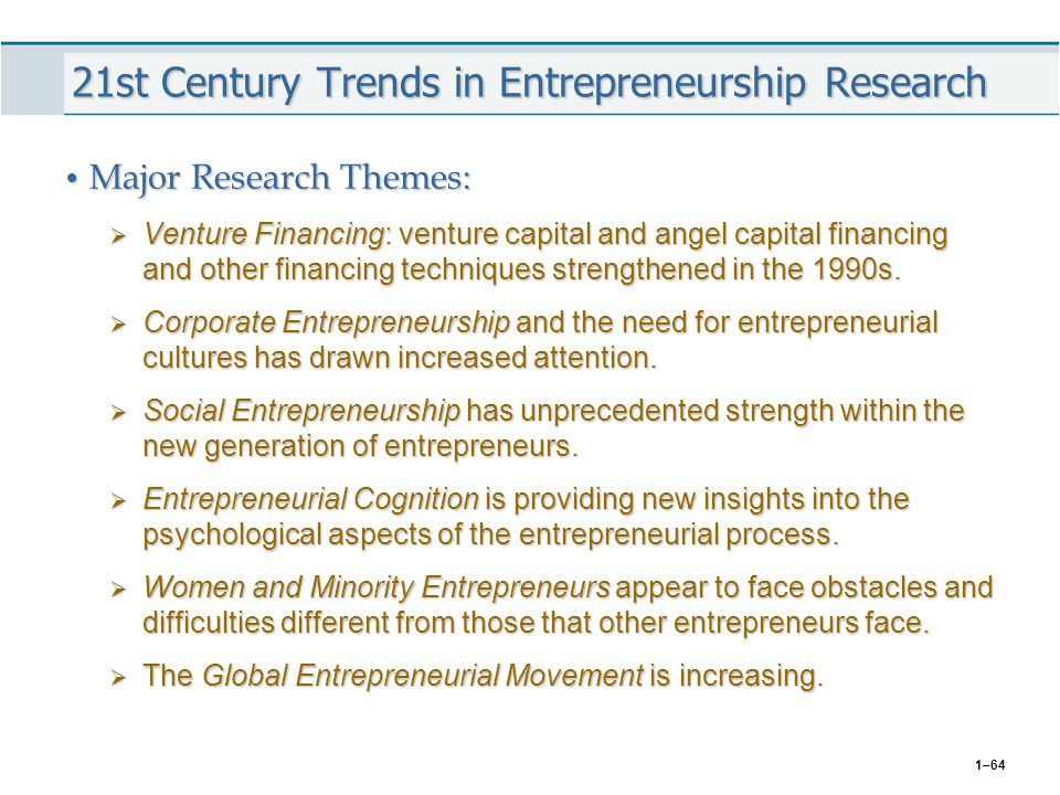 1–64 21st Century Trends in Entrepreneurship Research Major Research Themes: Major Research Themes:  Venture Financing: venture capital and angel cap