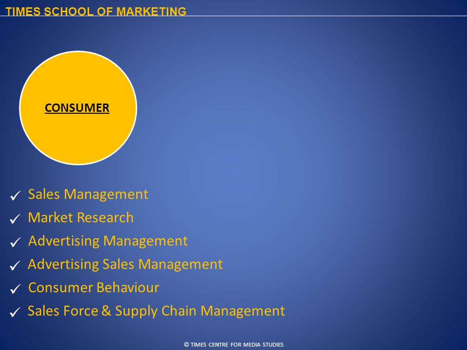 © TIMES CENTRE FOR MEDIA STUDIES TIMES SCHOOL OF MARKETING Sales Management Market Research Advertising Management Advertising Sales Management Consumer Behaviour Sales Force & Supply Chain Management CONSUMER