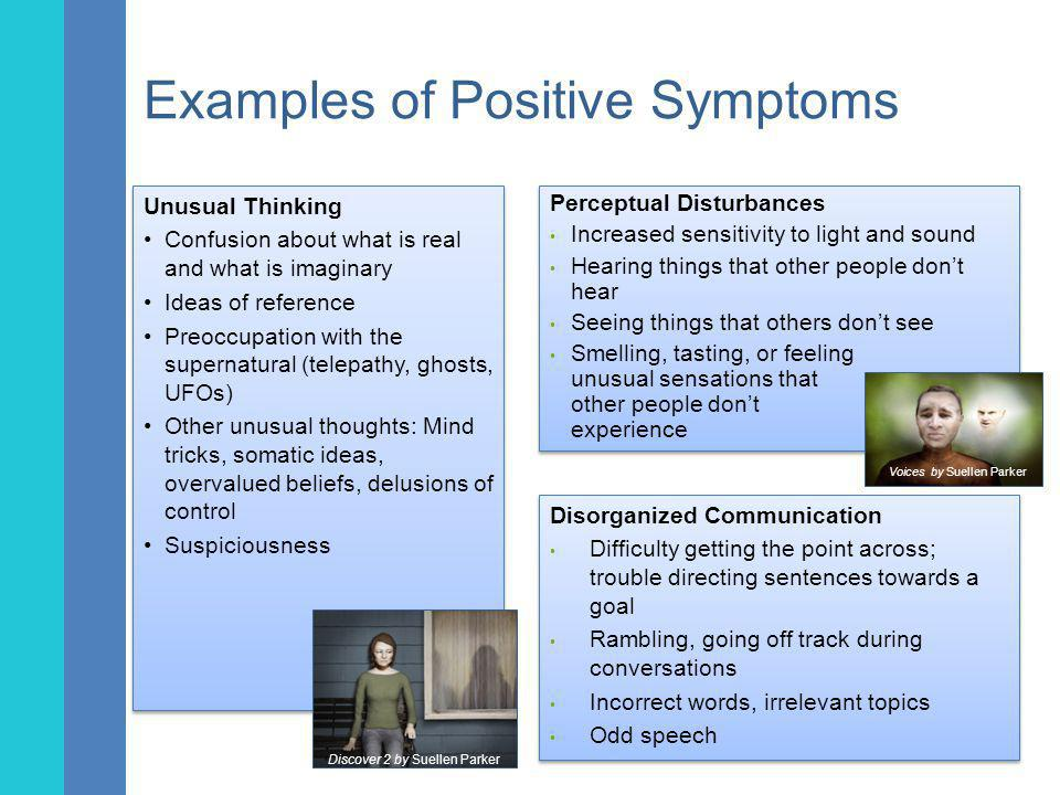 Examples of Negative Symptoms Social Withdrawal/Avolition Wanting to spend more time alone Not feeling motivated to do things Trouble understanding conversations or written materials Difficulty identifying and expressing emotions Social Withdrawal/Avolition Wanting to spend more time alone Not feeling motivated to do things Trouble understanding conversations or written materials Difficulty identifying and expressing emotions Disorganized Symptoms Neglect of personal hygiene Odd appearance or behavior Laughing at odd or inappropriate times Trouble with attention, clear thinking, comprehension Disorganized Symptoms Neglect of personal hygiene Odd appearance or behavior Laughing at odd or inappropriate times Trouble with attention, clear thinking, comprehension