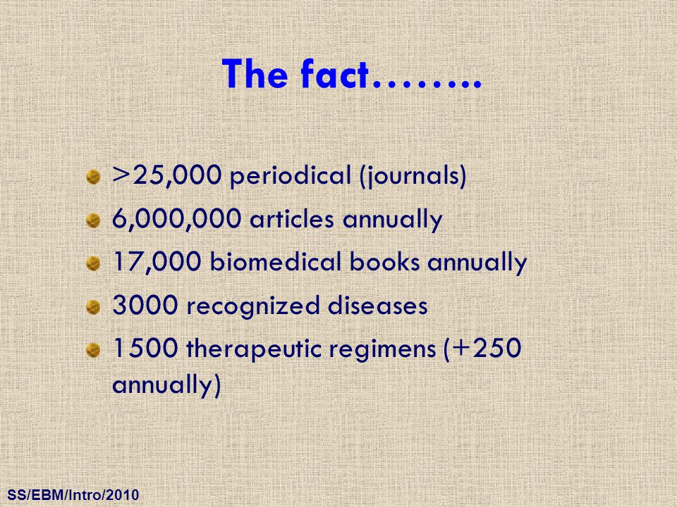 SS/EBM/Intro/2010 >25,000 periodical (journals) 6,000,000 articles annually 17,000 biomedical books annually 3000 recognized diseases 1500 therapeutic
