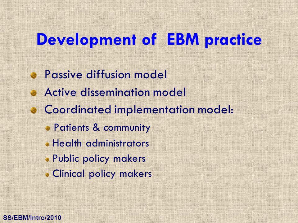 SS/EBM/Intro/2010 Development of EBM practice Passive diffusion model Active dissemination model Coordinated implementation model: Patients & communit