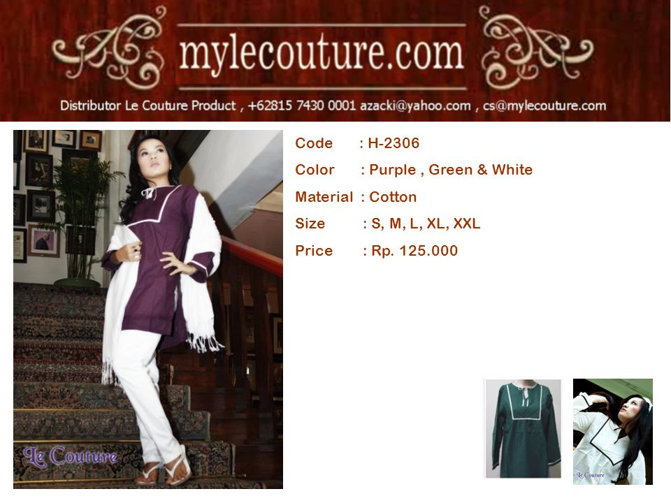 Code : H-2306 Color : Purple, Green & White Material : Cotton Size : S, M, L, XL, XXL Price : Rp.
