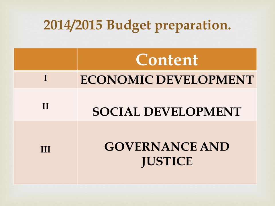  2014/2015 Budget preparation.