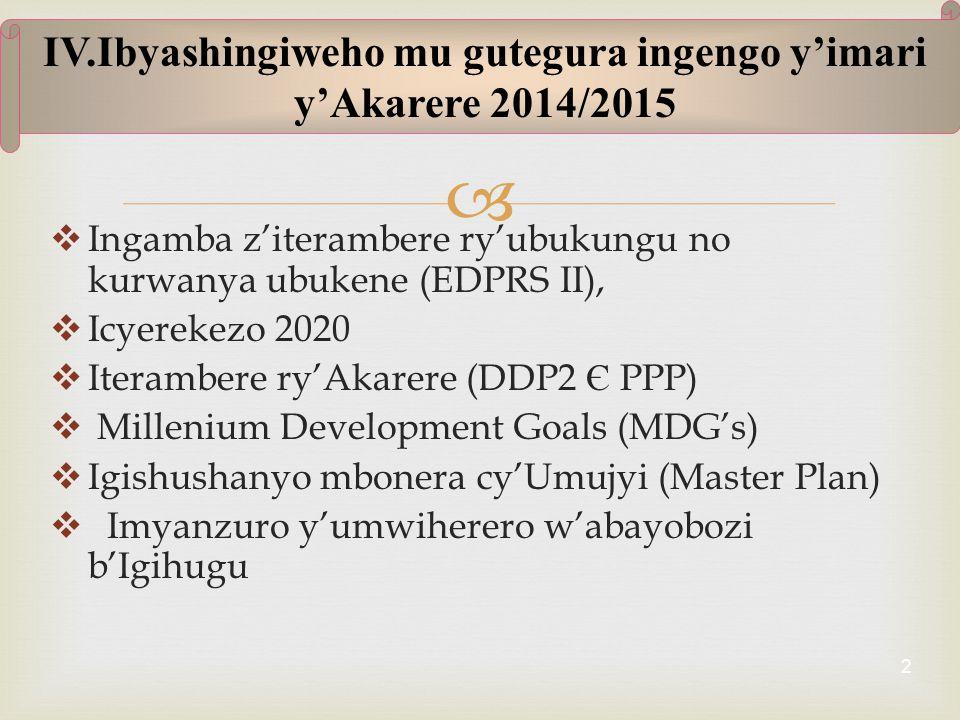   Ingamba z'iterambere ry'ubukungu no kurwanya ubukene (EDPRS II),  Icyerekezo 2020  Iterambere ry'Akarere (DDP2 Є PPP)  Millenium Development Goals (MDG's)  Igishushanyo mbonera cy'Umujyi (Master Plan)  Imyanzuro y'umwiherero w'abayobozi b'Igihugu 2 IV.Ibyashingiweho mu gutegura ingengo y'imari y'Akarere 2014/2015