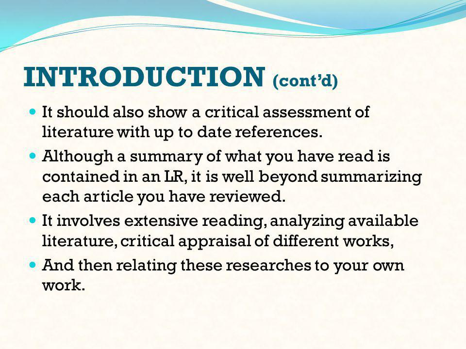GUIDELINES - 4 4 Step 4: Summarize the literature.
