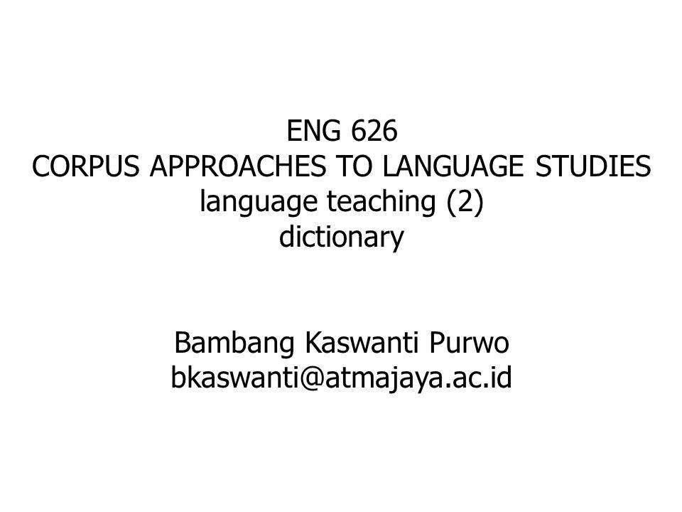 corpus-based English dictionaries, e.g.