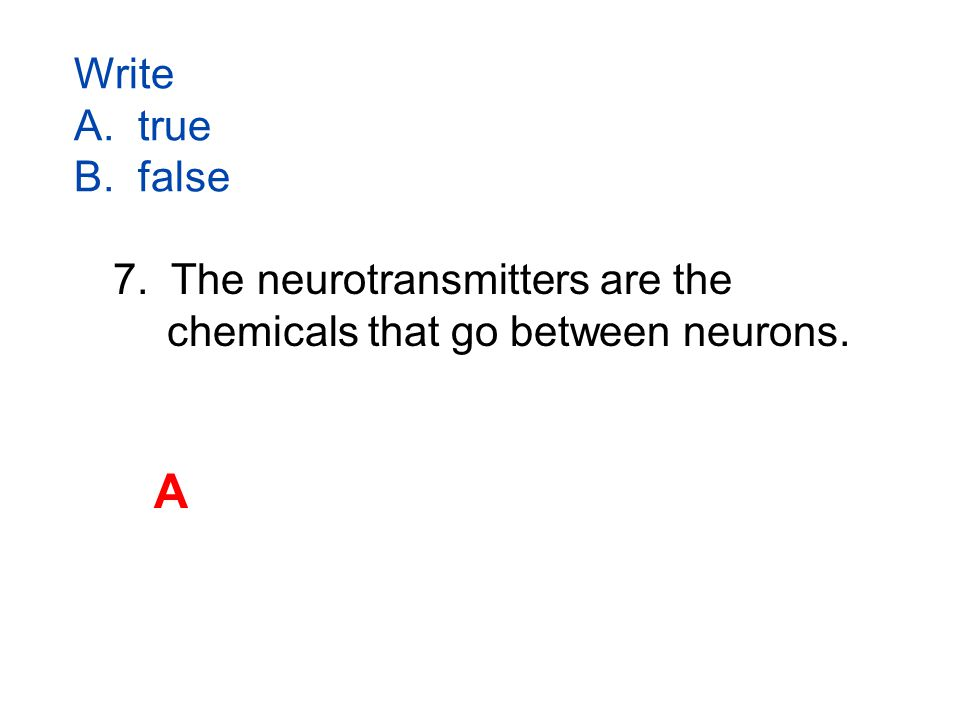 Write A. true B. false 7. The neurotransmitters are the chemicals that go between neurons. A