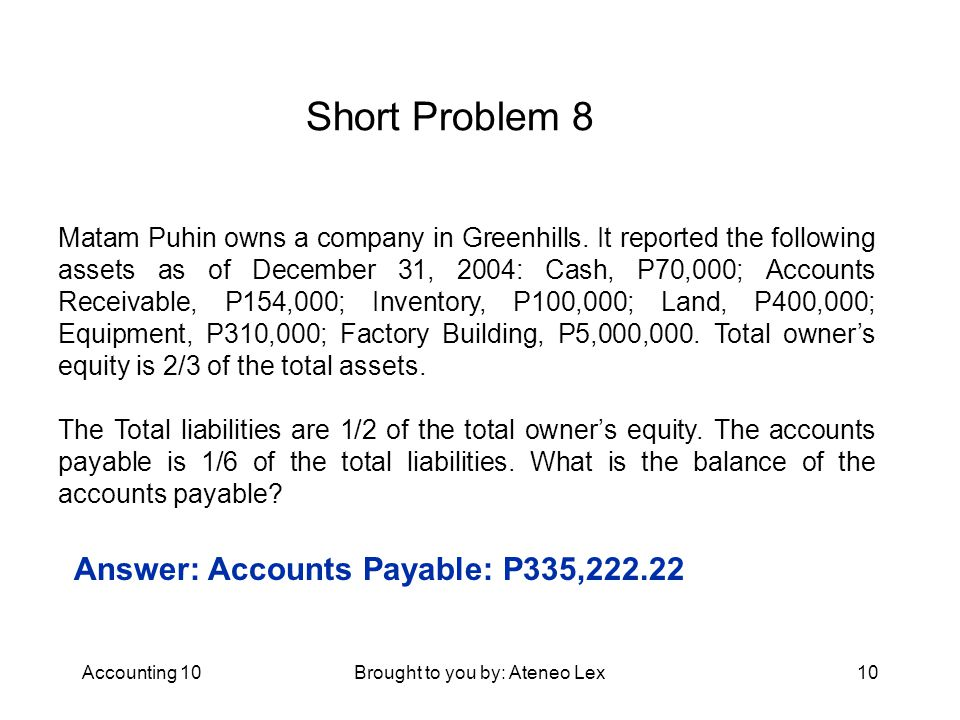 Accounting 10Brought to you by: Ateneo Lex10 Short Problem 8 Matam Puhin owns a company in Greenhills.