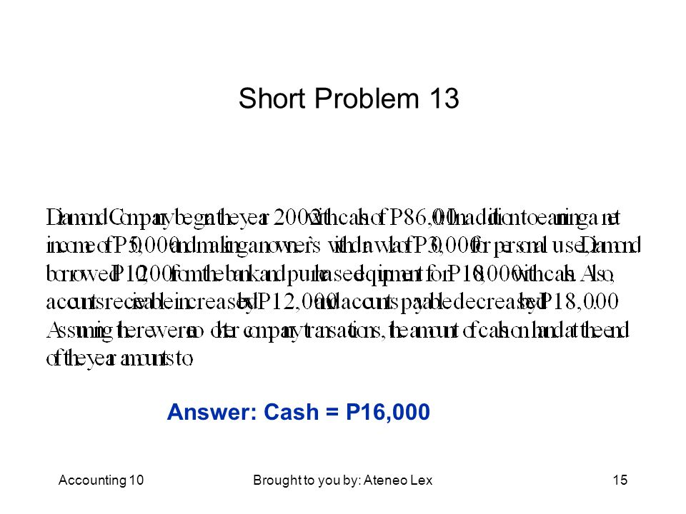 Accounting 10Brought to you by: Ateneo Lex15 Short Problem 13 Answer: Cash = P16,000