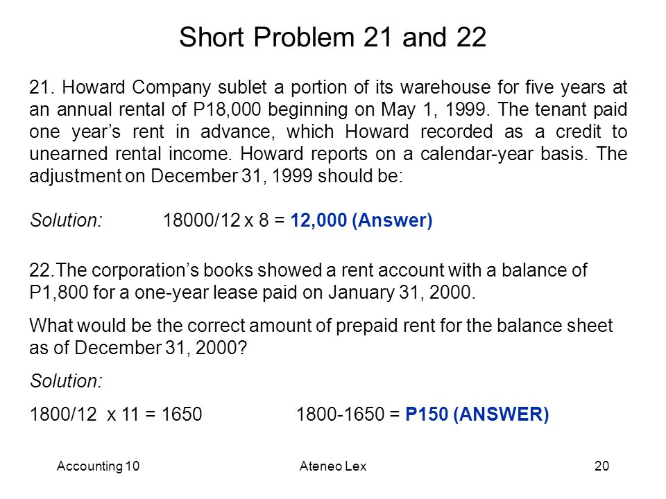 Accounting 10Ateneo Lex20 Short Problem 21 and 22 21.