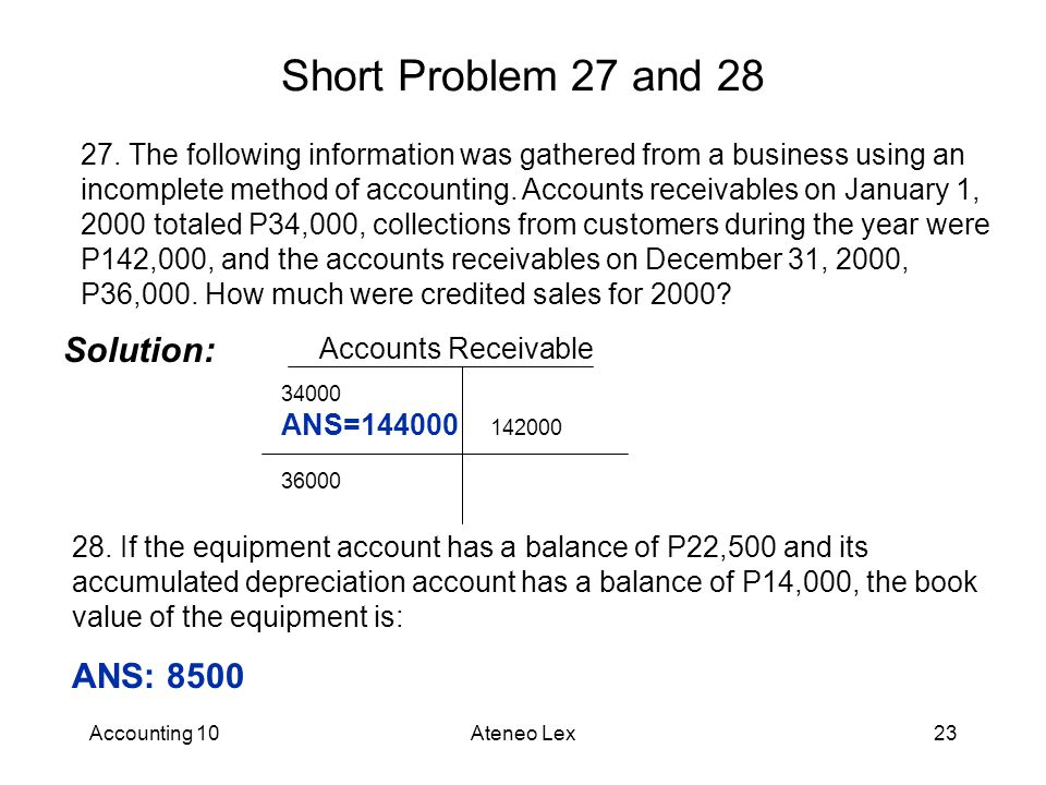 Accounting 10Ateneo Lex23 Short Problem 27 and 28 27.