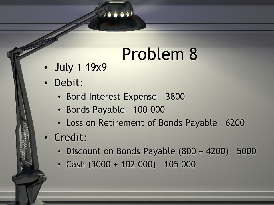 Problem 8 July 1 19x9 Debit: Bond Interest Expense 3800 Bonds Payable 100 000 Loss on Retirement of Bonds Payable 6200 Credit: Discount on Bonds Payable (800 + 4200) 5000 Cash (3000 + 102 000) 105 000 July 1 19x9 Debit: Bond Interest Expense 3800 Bonds Payable 100 000 Loss on Retirement of Bonds Payable 6200 Credit: Discount on Bonds Payable (800 + 4200) 5000 Cash (3000 + 102 000) 105 000