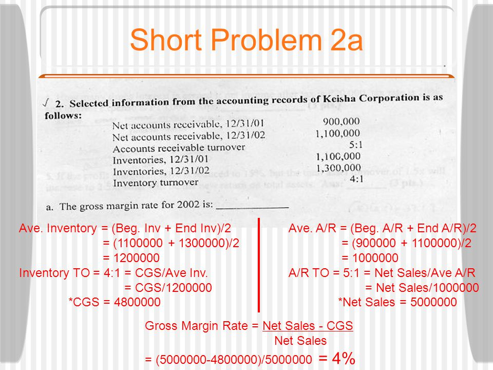 Short Problem 2a Gross Margin Rate = Net Sales - CGS Net Sales = (5000000-4800000)/5000000 = 4% Ave.