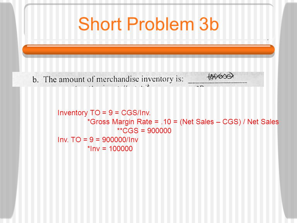 Short Problem 3b Inventory TO = 9 = CGS/Inv.