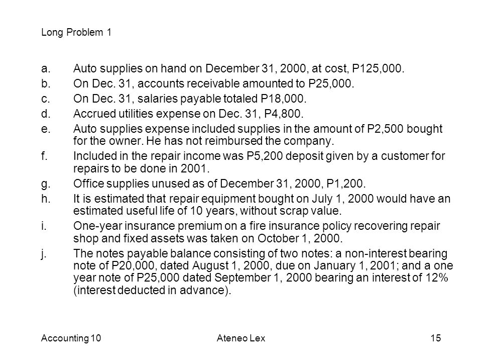 Accounting 10Ateneo Lex15 a.Auto supplies on hand on December 31, 2000, at cost, P125,000.