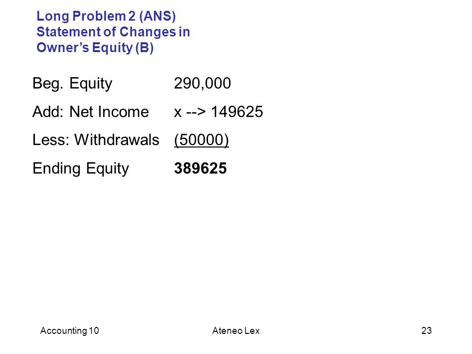 Accounting 10Ateneo Lex23 Long Problem 2 (ANS) Statement of Changes in Owner's Equity (B) Beg.