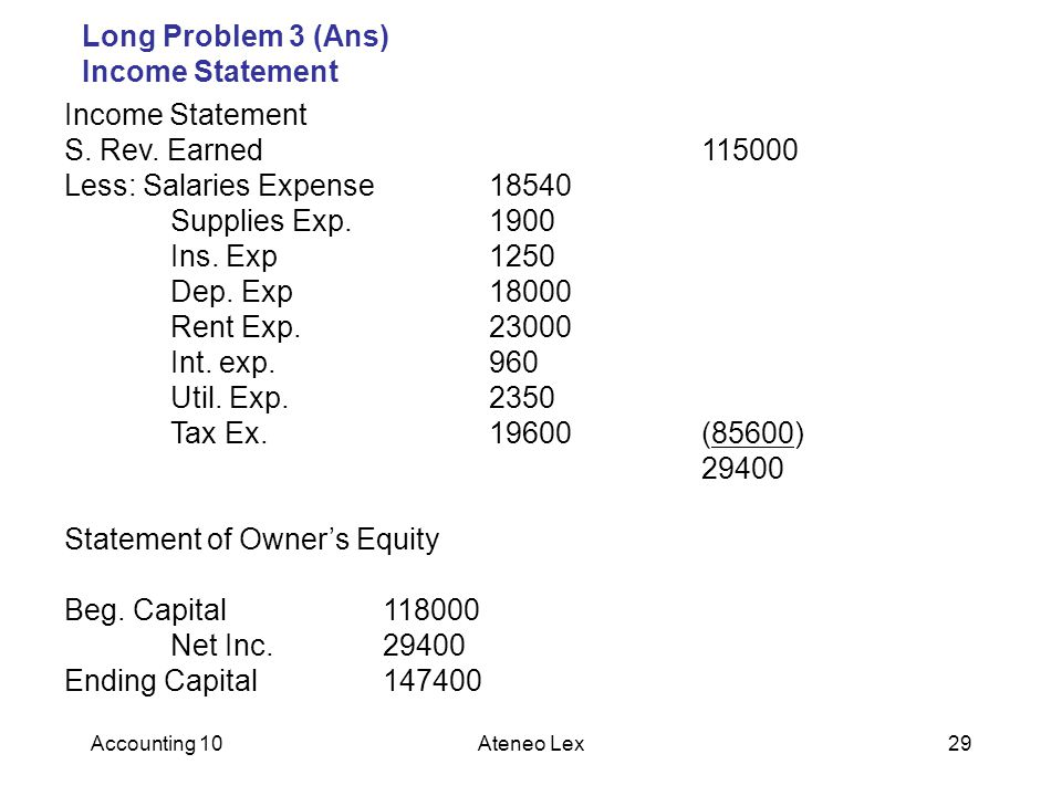 Accounting 10Ateneo Lex29 Long Problem 3 (Ans) Income Statement Income Statement S.