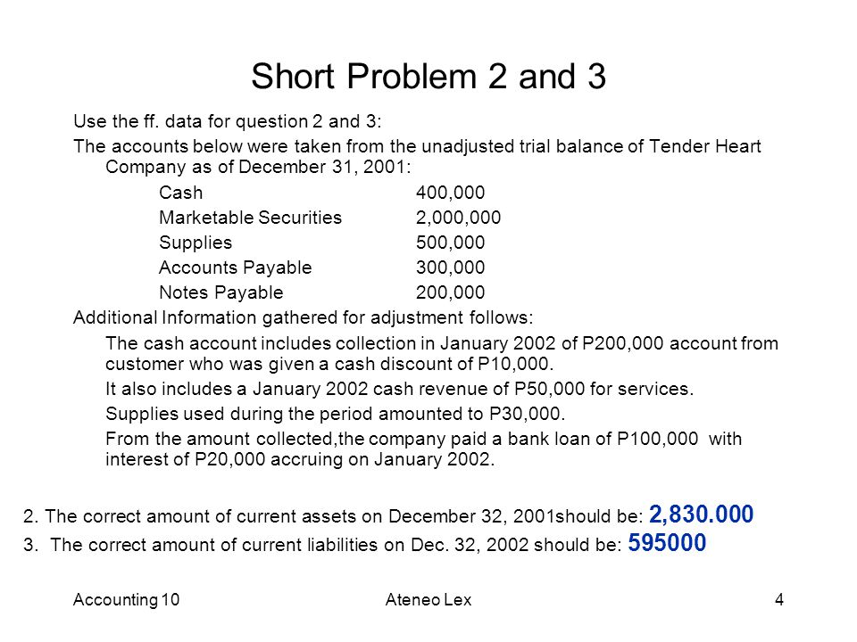 Accounting 10Ateneo Lex4 Short Problem 2 and 3 2.