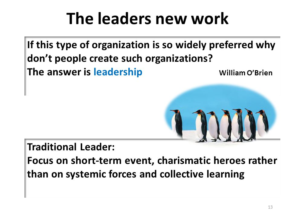 The leaders new work If this type of organization is so widely preferred why don't people create such organizations? The answer is leadership William