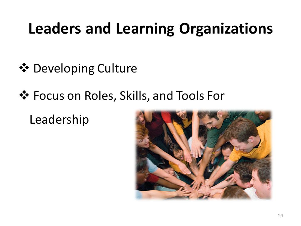 Leaders and Learning Organizations  Developing Culture  Focus on Roles, Skills, and Tools For Leadership 29