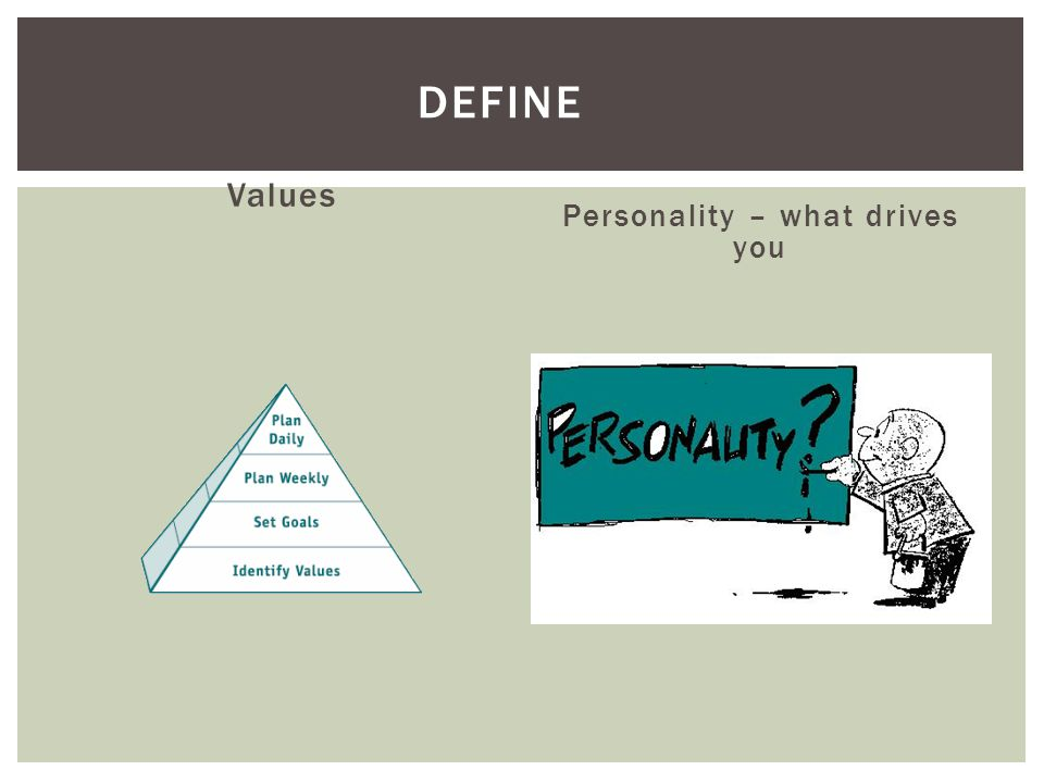 Values Personality – what drives you DEFINE