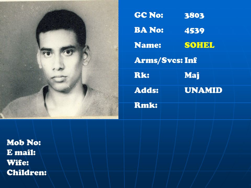 GC No: 3803 BA No: 4539 Name: SOHEL Arms/Svcs:Inf Rk:Maj Adds:UNAMID Rmk: Mob No: E mail: Wife: Children: