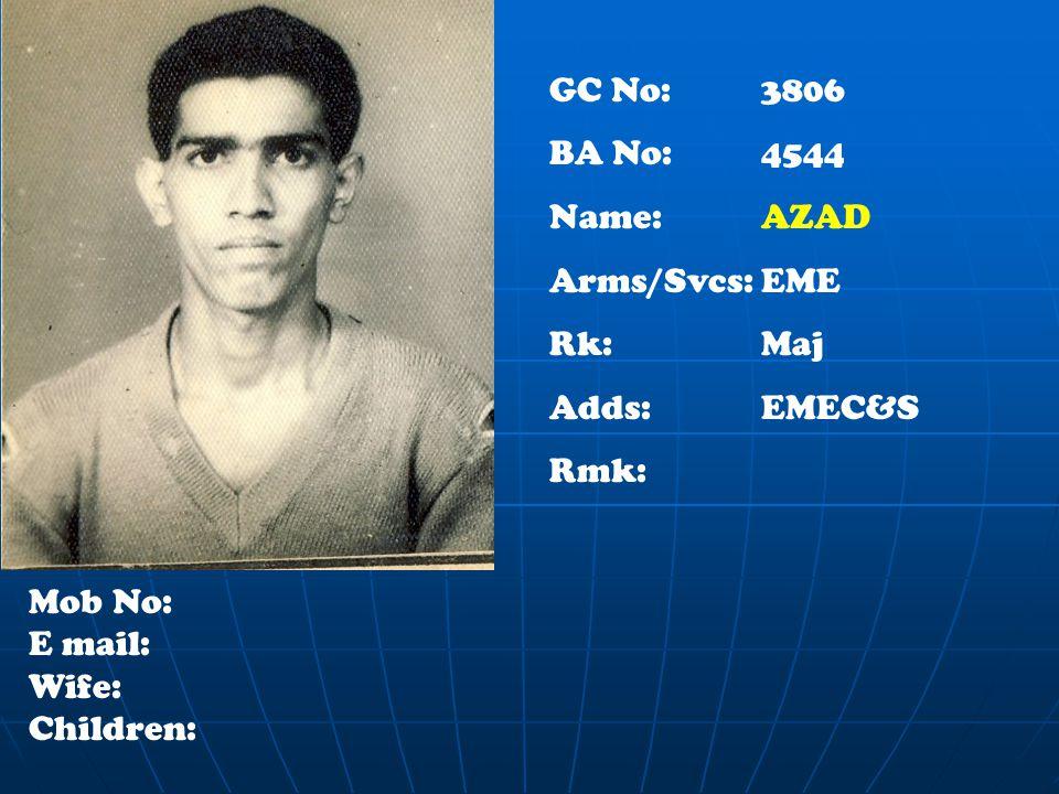 GC No: 3806 BA No: 4544 Name: AZAD Arms/Svcs:EME Rk:Maj Adds: EMEC&S Rmk: Mob No: E mail: Wife: Children: