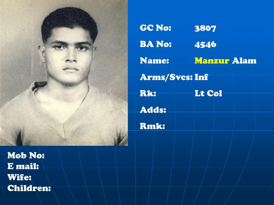 GC No: 3807 BA No: 4546 Name:Manzur Alam Arms/Svcs:Inf Rk:Lt Col Adds: Rmk: Mob No: E mail: Wife: Children: