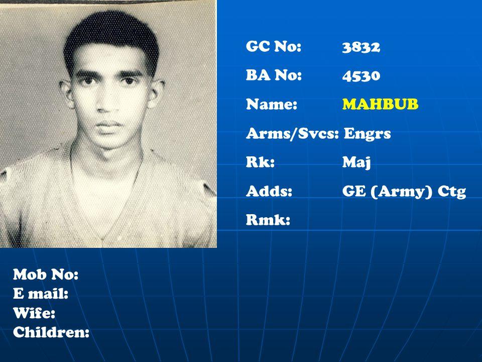 GC No: 3832 BA No: 4530 Name: MAHBUB Arms/Svcs: Engrs Rk:Maj Adds: GE (Army) Ctg Rmk: Mob No: E mail: Wife: Children: