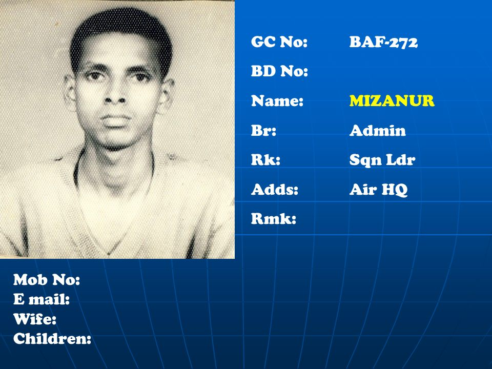 GC No: BAF-272 BD No: Name: MIZANUR Br:Admin Rk:Sqn Ldr Adds: Air HQ Rmk: Mob No: E mail: Wife: Children: