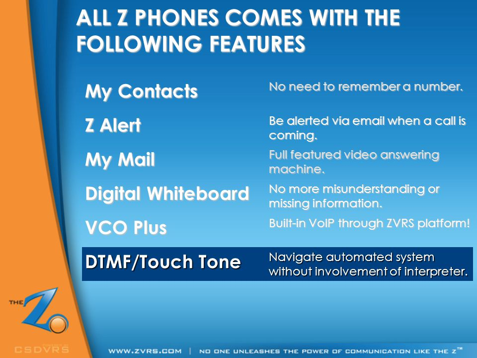ALL Z PHONES COMES WITH THE FOLLOWING FEATURES My Contacts No need to remember a number. Z Alert Be alerted via email when a call is coming. My Mail F