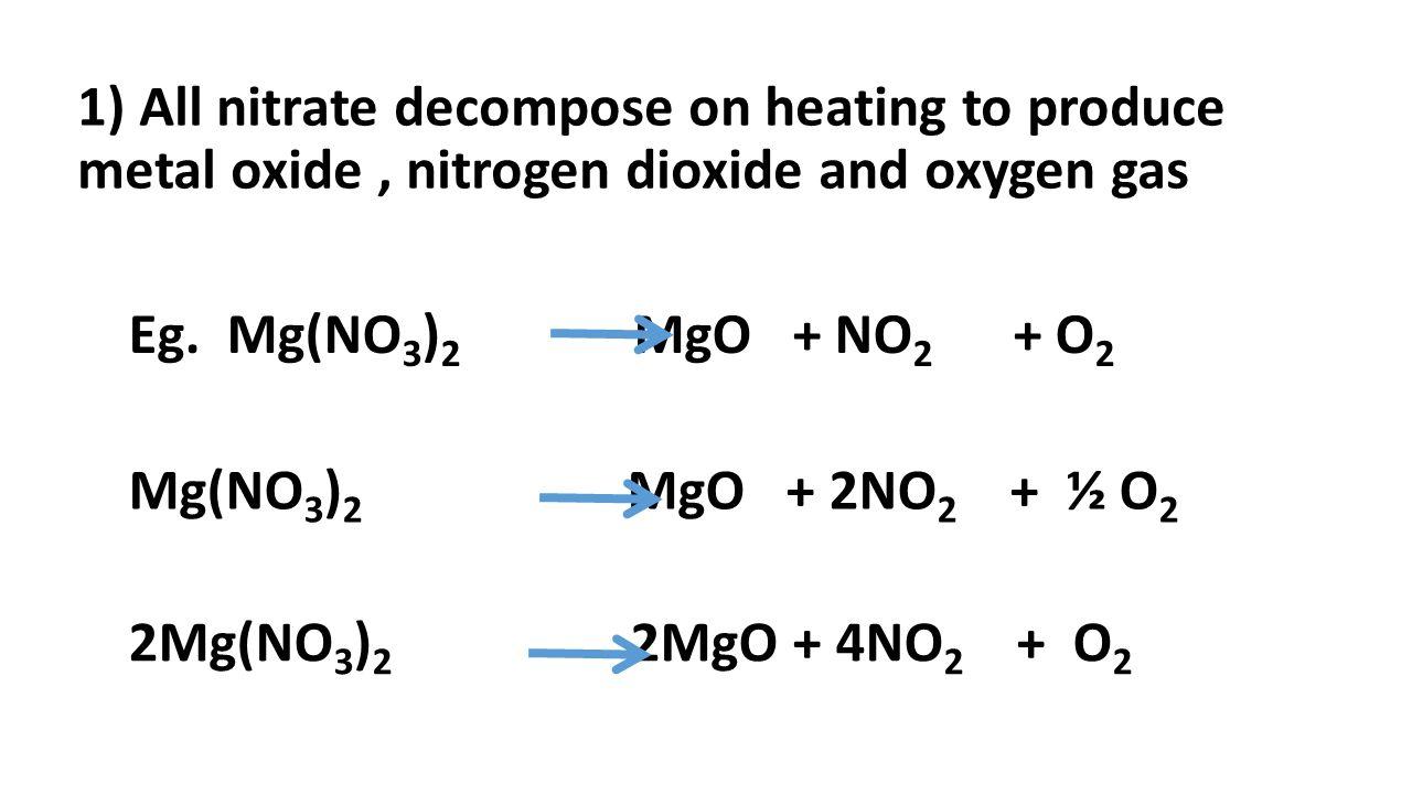 1) All nitrate decompose on heating to produce metal oxide, nitrogen dioxide and oxygen gas Eg. Mg(NO 3 ) 2 MgO + NO 2 + O 2 Mg(NO 3 ) 2 MgO + 2NO 2 +
