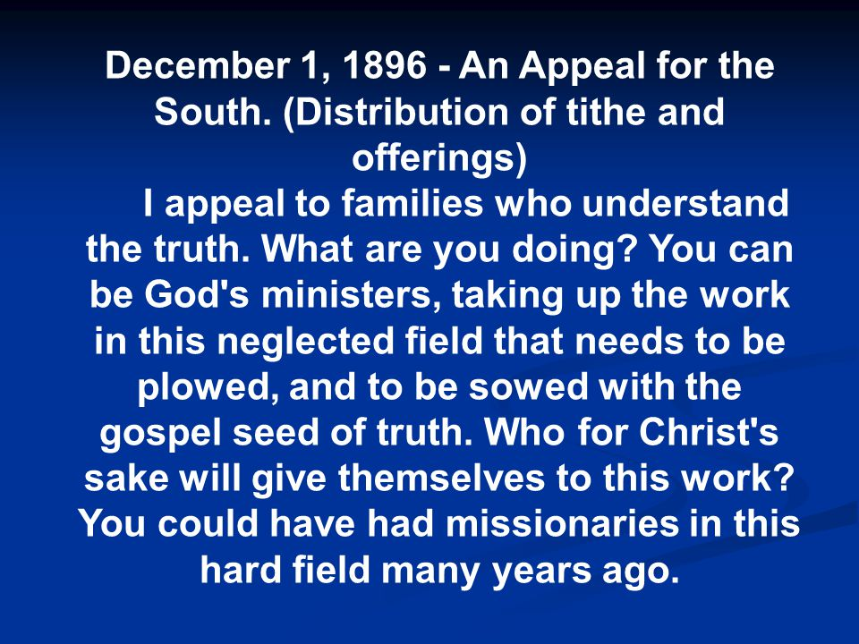 December 1, 1896 - An Appeal for the South.