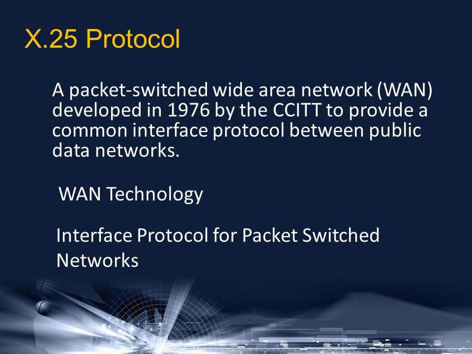 A packet-switched wide area network (WAN) developed in 1976 by the CCITT to provide a common interface protocol between public data networks. Interfac
