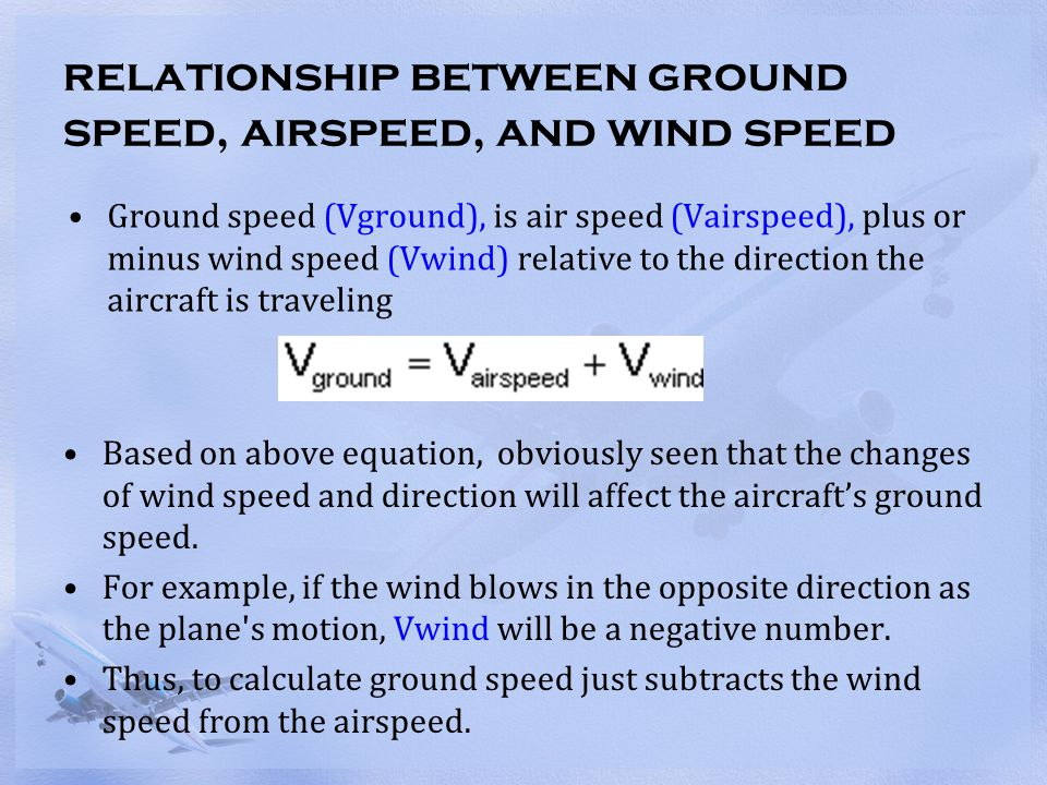 relationship between ground speed, airspeed, and wind speed Flying directly into the wind (head wind) will cause the ground speed to be slower than the airspeed.