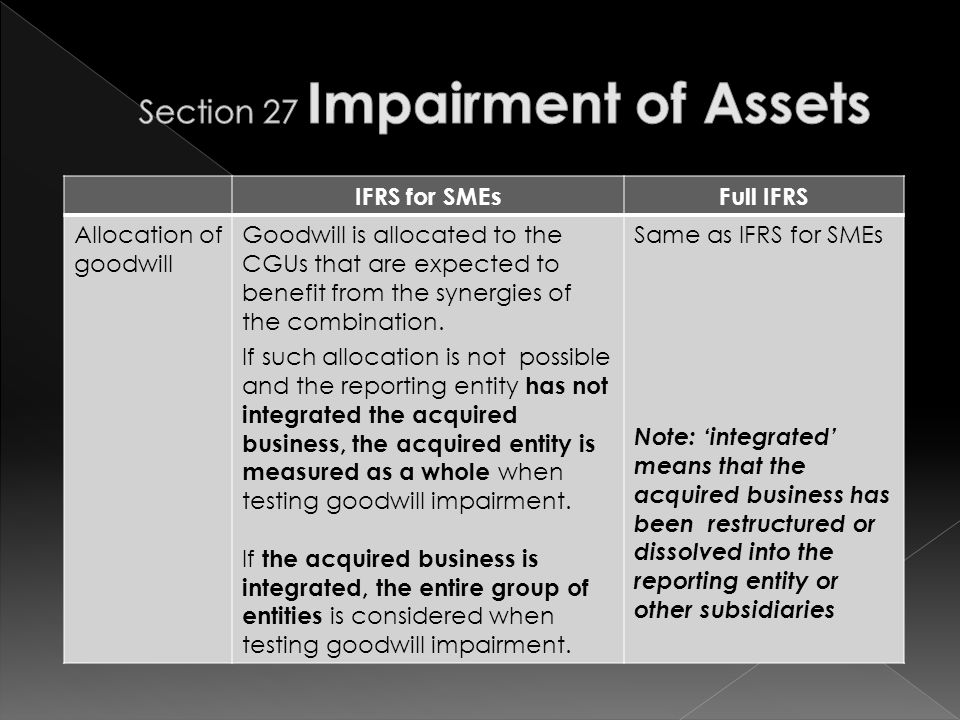 IFRS for SMEsFull IFRS Allocation of goodwill Goodwill is allocated to the CGUs that are expected to benefit from the synergies of the combination.