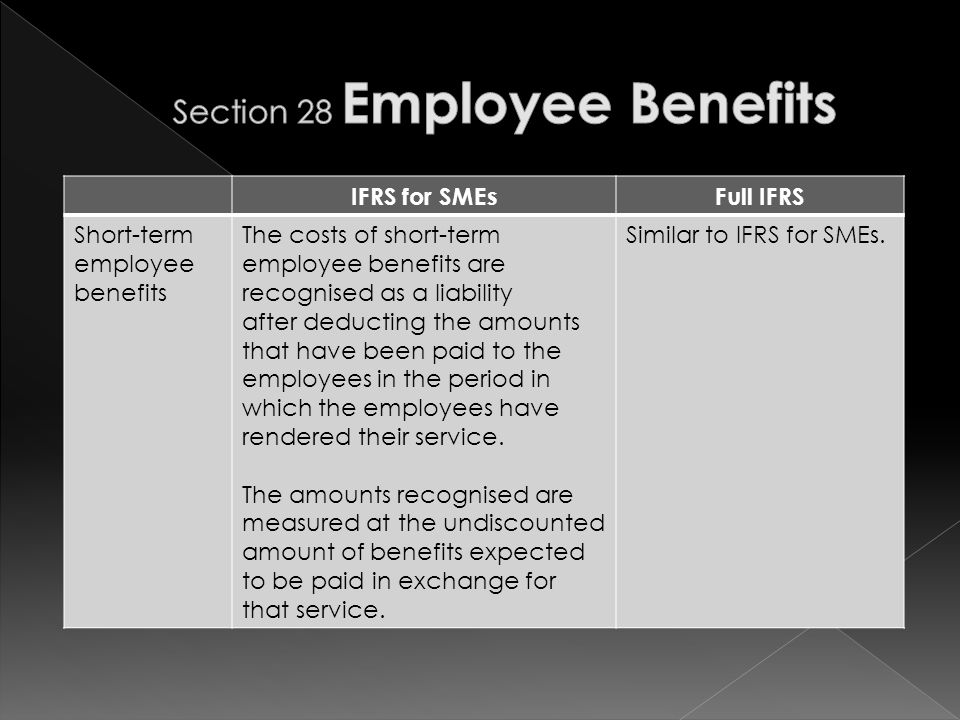 IFRS for SMEsFull IFRS Short-term employee benefits The costs of short-term employee benefits are recognised as a liability after deducting the amounts that have been paid to the employees in the period in which the employees have rendered their service.