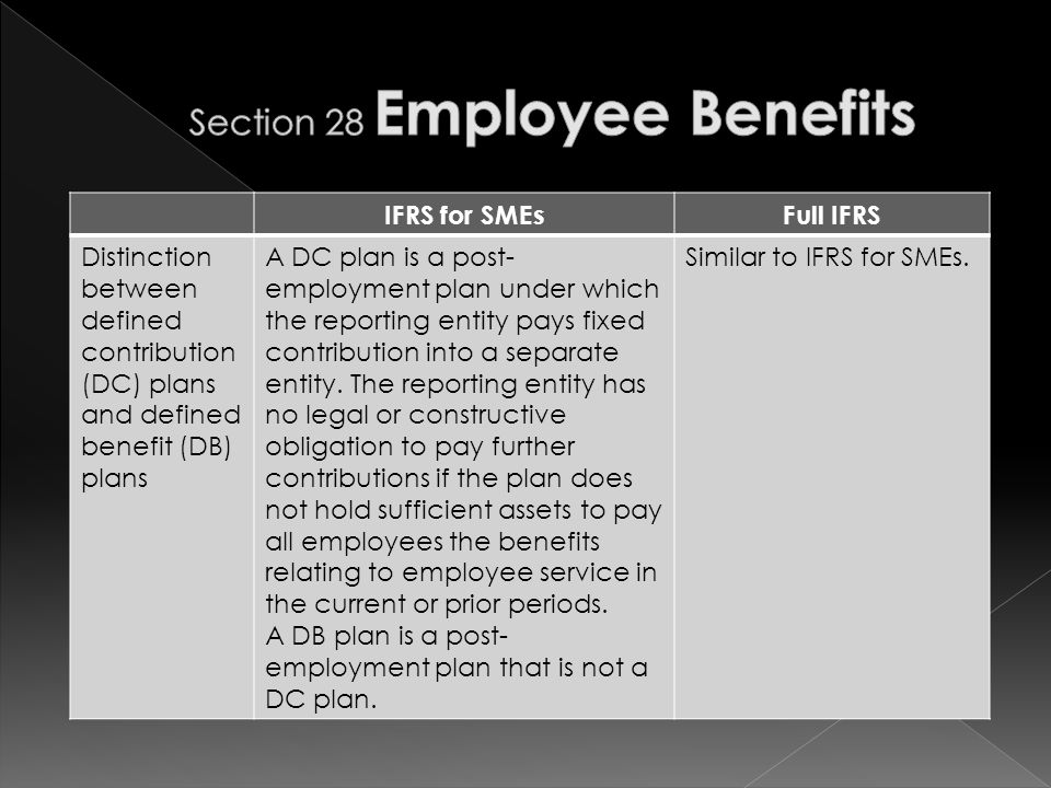 IFRS for SMEsFull IFRS Distinction between defined contribution (DC) plans and defined benefit (DB) plans A DC plan is a post- employment plan under which the reporting entity pays fixed contribution into a separate entity.