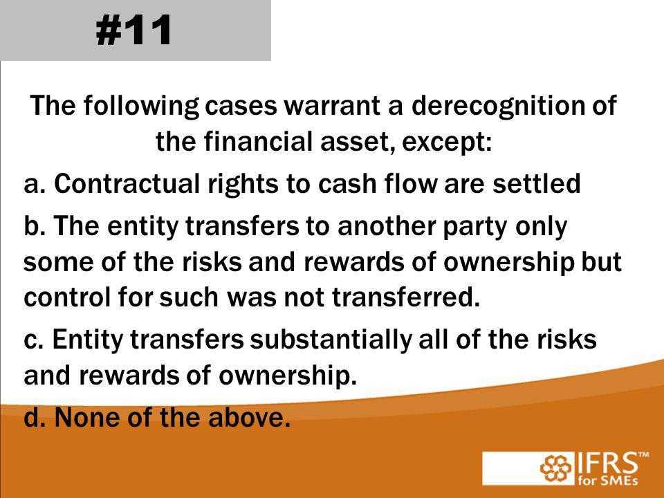 The following cases warrant a derecognition of the financial asset, except: a.