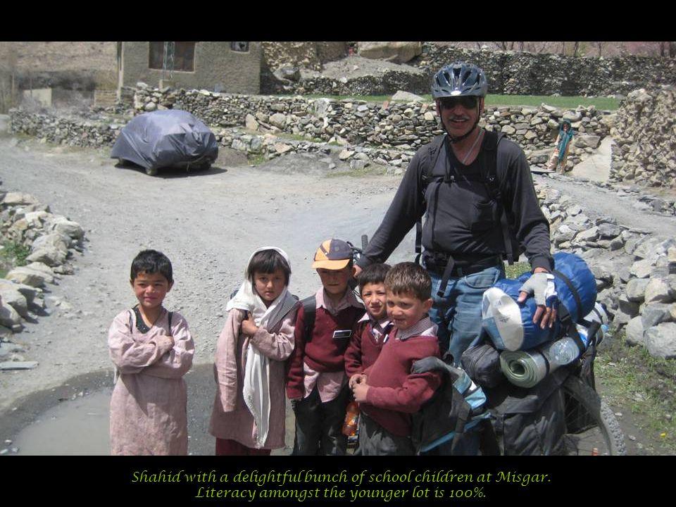 Shahid with a delightful bunch of school children at Misgar.