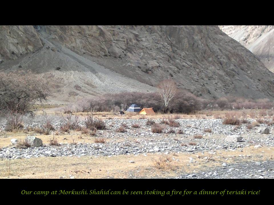 Our camp at Morkushi. Shahid can be seen stoking a fire for a dinner of teriaki rice!