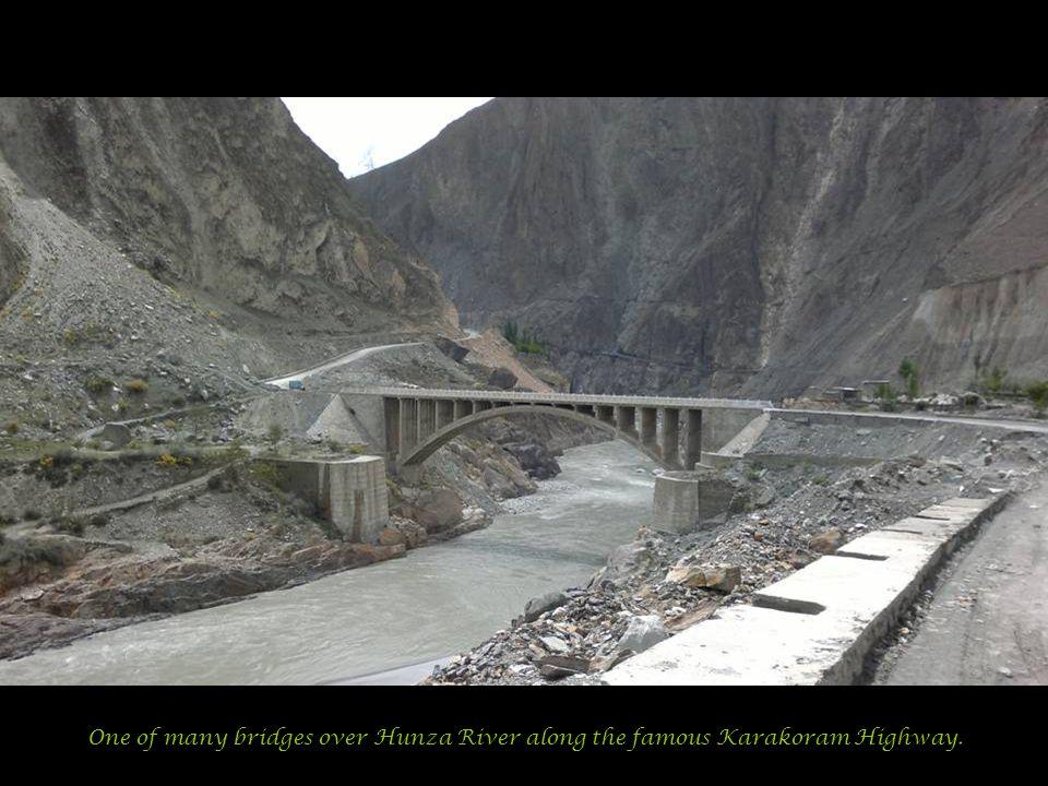 One of many bridges over Hunza River along the famous Karakoram Highway.
