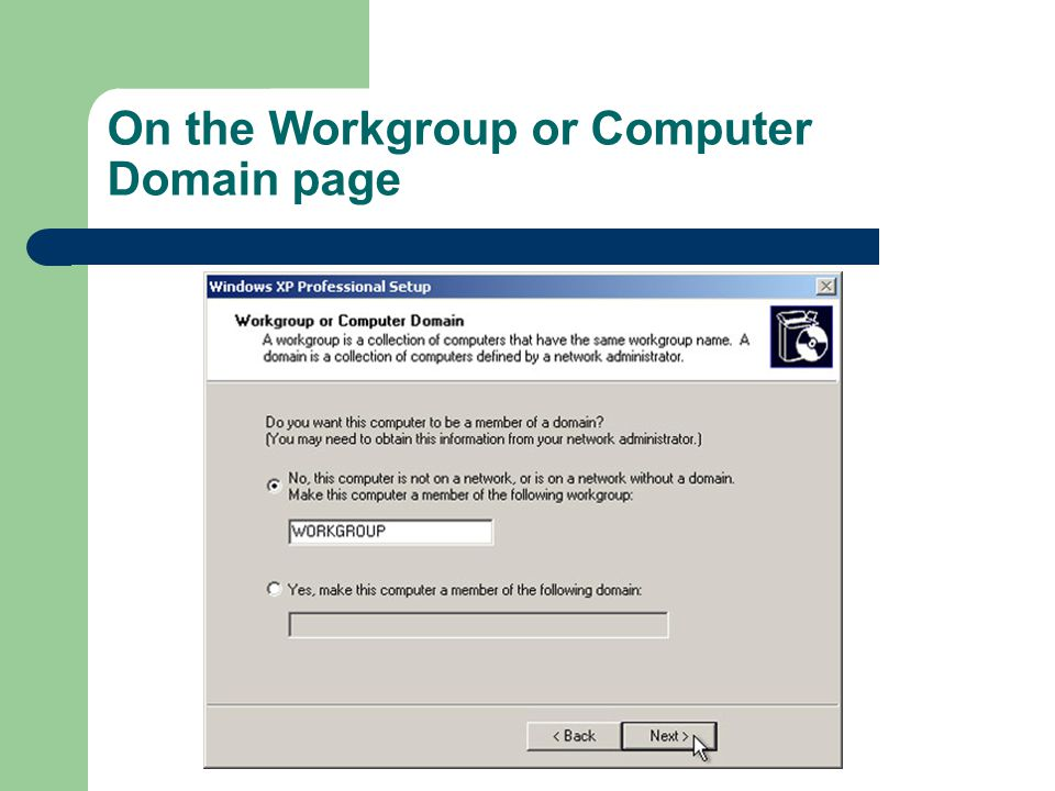 On the Workgroup or Computer Domain page