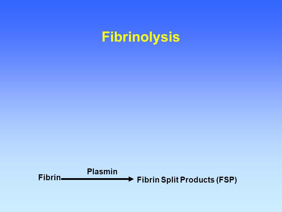 Fibrin Fibrin Split Products (FSP) Plasmin Fibrinolysis